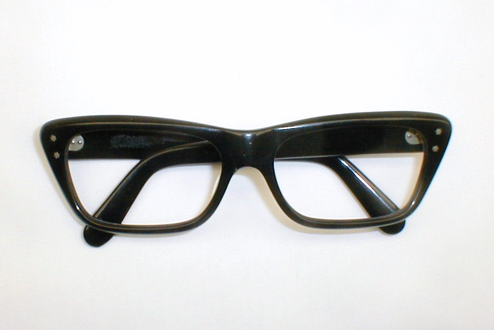 Good Eyeglass Frames For Thick Lenses : Mens Vintage Eyeglasses Frame Italy Stenzel Black Thick ...