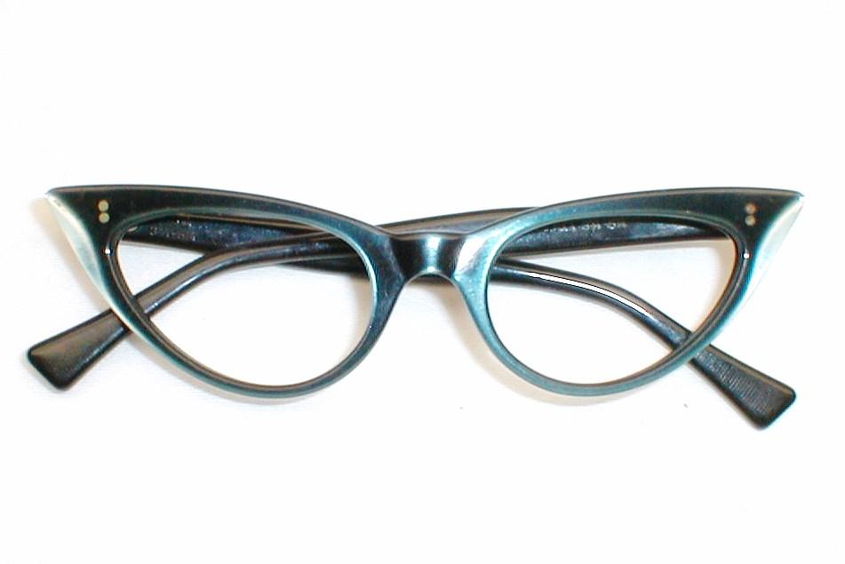 Vintage Women\'s Eyeglasses, Cats Eye Frames with Rhinestones