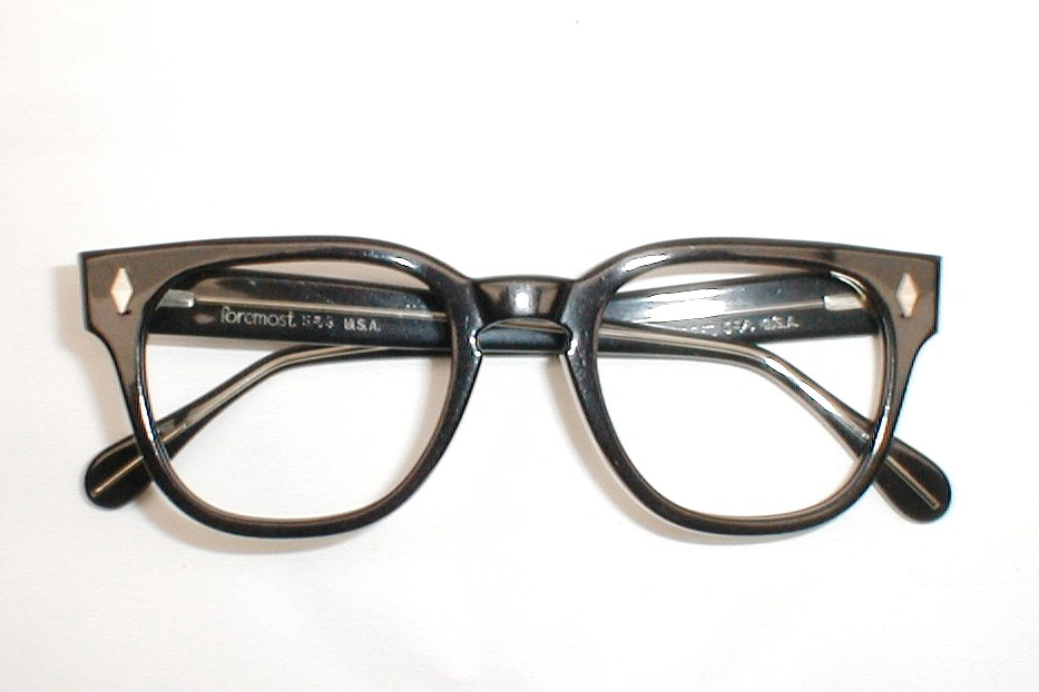 Vintage 50s Eyeglass Frames Mens : Vintage Mens Eyeglasses Frames Black 50s-60s Foremost Bowler