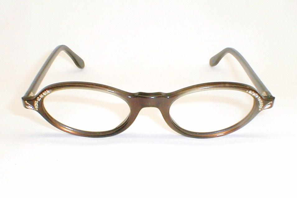 Vintage Womens Cat Eyes, Swank Mod Eyeglasses, Rhinestones