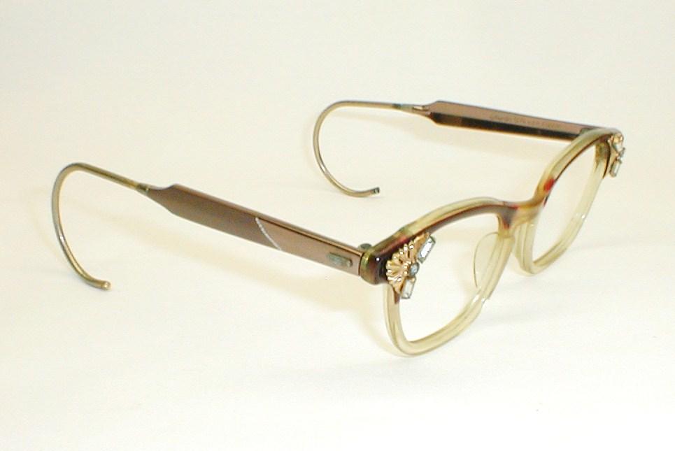 Vintage Womens Eyeglasses, Cats Eye Frames with Rhinestones