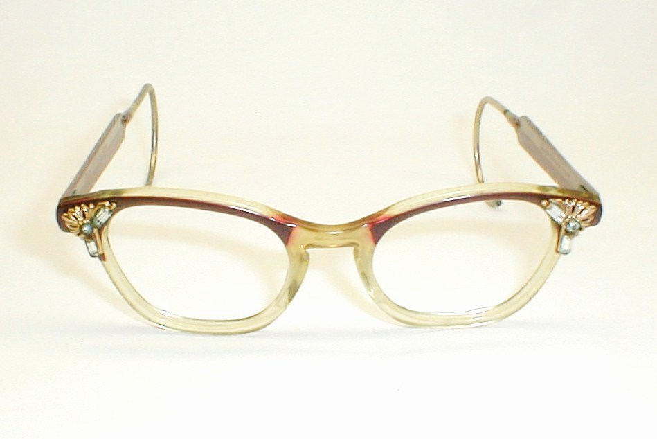 Women s Eyeglass Frames With Crystals : Vintage Womens Eyeglasses, Cats Eye Frames with Rhinestones