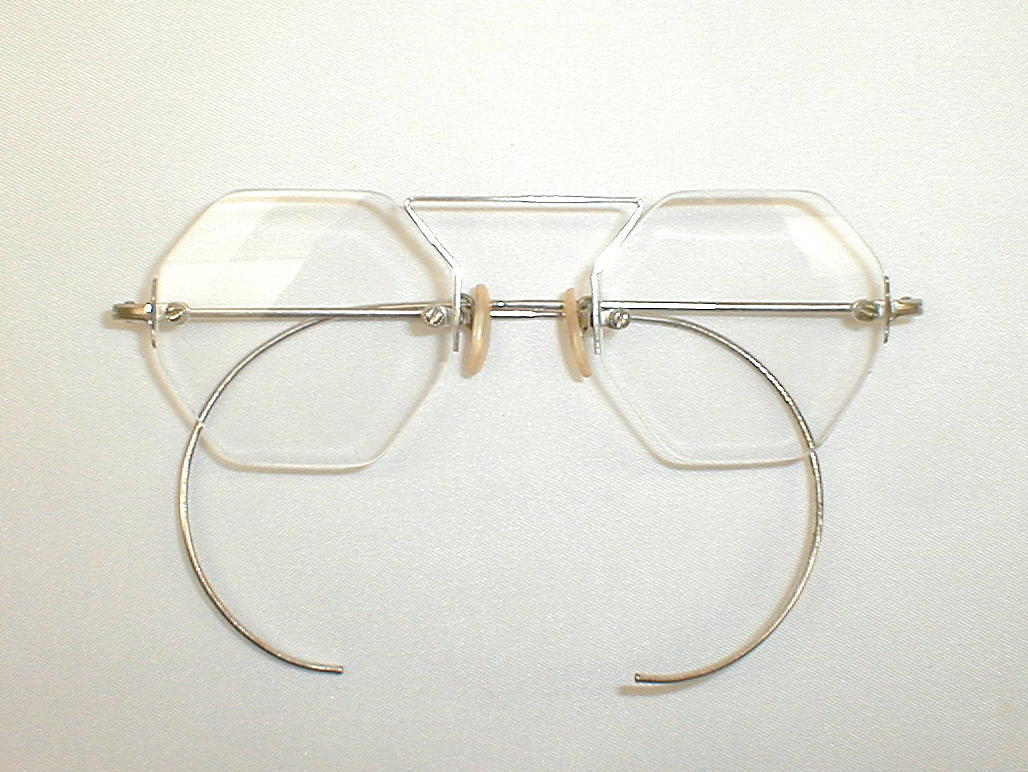 Rimless Octagon Eyeglass Frames : Antique Silver Eyeglasses Spectacles Mod Octagonal Rimless