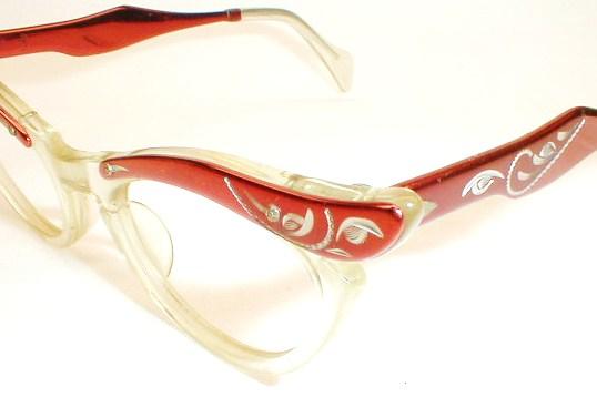 Womens Vintgae Eyeglasses Frames Entice Red 1960s Burlesque
