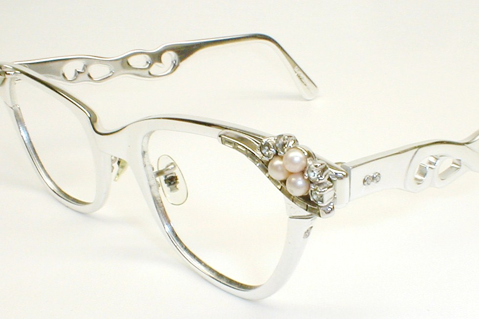 Vintage Glo-Spec 50s-60s CatEye Glasses with Rhinestones