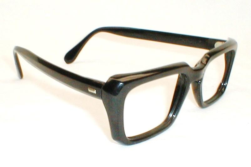 Eyeglass Frames Wide Temples : Mens Vintage Black Mod Eyeglass Frames Zyloware